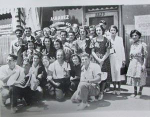 Young Armenian Americans pose outside the Asbarez newspaper offices in Fresno during the 1930s. (Courtesy of the Fresno State Department of Armenian Studies)