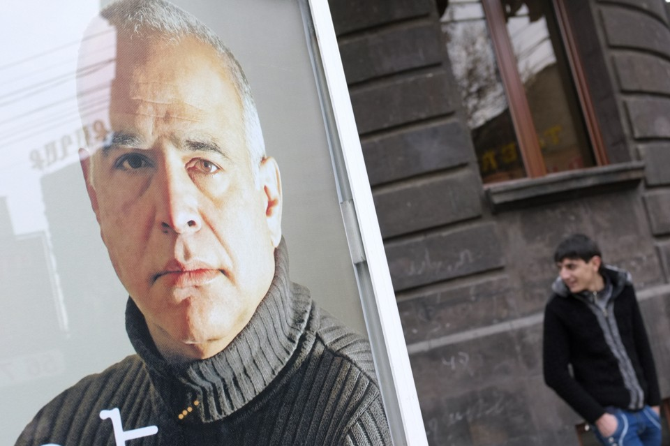 Raffi Hovannisian's campaign poster on a street in Yerevan (David Mdzinarishvili / Reuters)